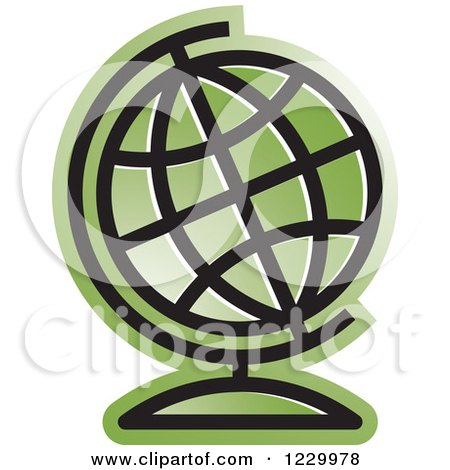 Clipart of a Green Desk Globe Icon - Royalty Free Vector Illustration by Lal Perera