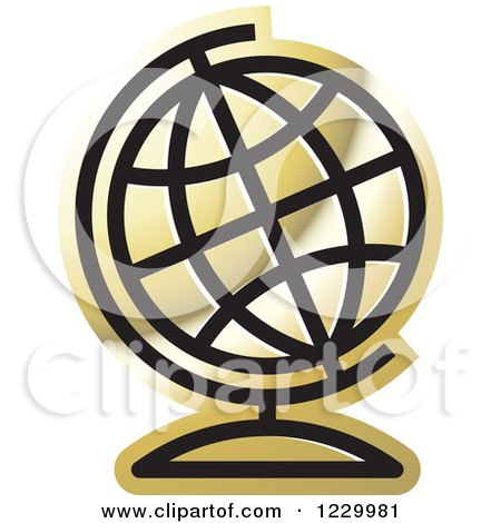 Clipart of a Golden Desk Globe Icon - Royalty Free Vector Illustration by Lal Perera