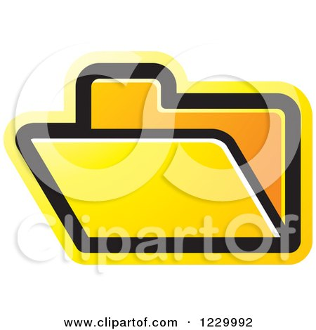 Clipart of a Yellow File Folder Icon - Royalty Free Vector Illustration by Lal Perera
