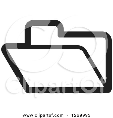 Clipart of a Black and White File Folder Icon - Royalty Free Vector Illustration by Lal Perera