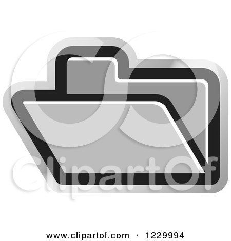 Clipart of a Silver File Folder Icon - Royalty Free Vector Illustration by Lal Perera