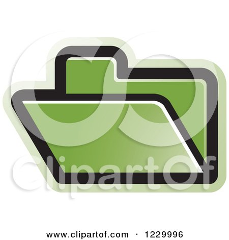 Clipart of a Green File Folder Icon - Royalty Free Vector Illustration by Lal Perera