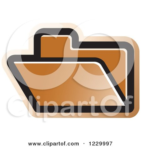 Clipart of a Brown File Folder Icon - Royalty Free Vector Illustration by Lal Perera