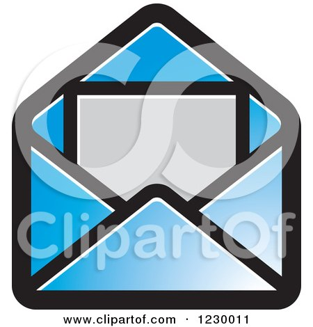 Clipart of a Blue Letter and Envelope Icon - Royalty Free Vector Illustration by Lal Perera