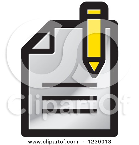Clipart of a Silver Enrollment Document Icon - Royalty Free Vector Illustration by Lal Perera