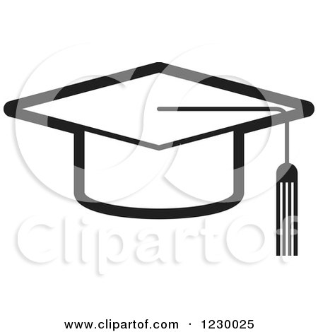 Clipart of a Gradient Orange Mortar Board Graduation Cap Icon ...
