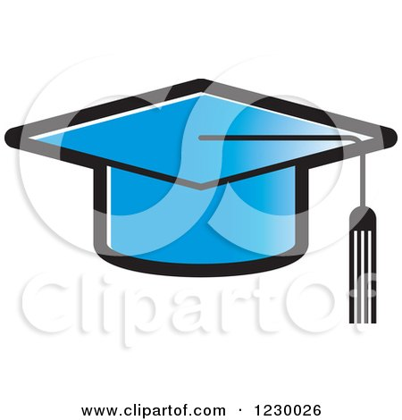 Clipart of a Blue Mortar Board Graduation Cap Icon - Royalty Free Vector Illustration by Lal Perera