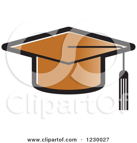 Clipart of a Brown Mortar Board Graduation Cap Icon - Royalty Free Vector Illustration by Lal Perera