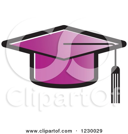 Clipart of a Purple Mortar Board Graduation Cap Icon - Royalty Free Vector Illustration by Lal Perera