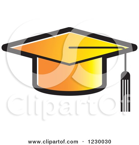 Clipart of a Gradient Orange Mortar Board Graduation Cap Icon - Royalty Free Vector Illustration by Lal Perera