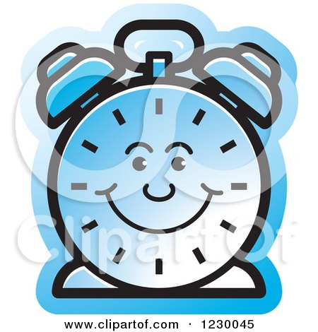 Clipart of a Happy Blue Alarm Clock Icon - Royalty Free Vector Illustration by Lal Perera
