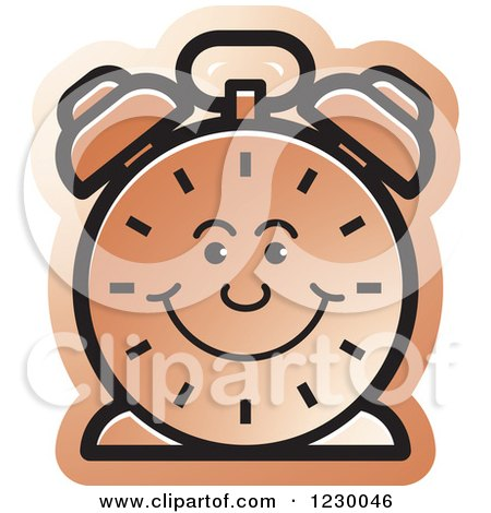 Clipart of a Happy Brown Alarm Clock Icon - Royalty Free Vector Illustration by Lal Perera