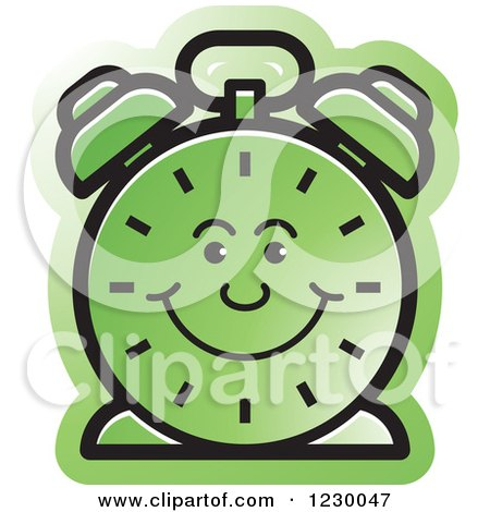 Clipart of a Happy Green Alarm Clock Icon - Royalty Free Vector Illustration by Lal Perera
