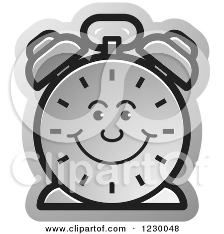 Clipart of a Happy Silver Alarm Clock Icon - Royalty Free Vector Illustration by Lal Perera