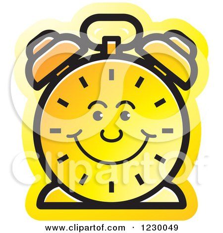 Clipart of a Happy Yellow Alarm Clock Icon - Royalty Free Vector Illustration by Lal Perera