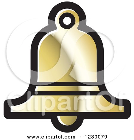 Clipart of a Golden Bell Icon - Royalty Free Vector Illustration by Lal Perera