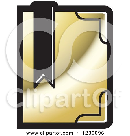 Clipart of a Golden Book with a Bookmark Icon - Royalty Free Vector Illustration by Lal Perera