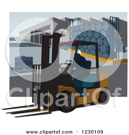 Clipart of a Man Operating a Forklift in a Warehouse with Drums - Royalty Free Vector Illustration by David Rey