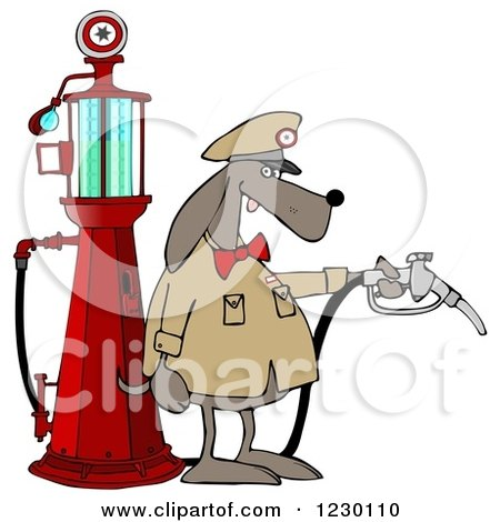 Clipart of a Dog Attendant by an Old Fashioned Gas Pump - Royalty Free Illustration by djart