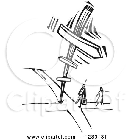 Clipart of a Black and White Woodcut Couple at a Crossroads - Royalty Free Vector Illustration by xunantunich
