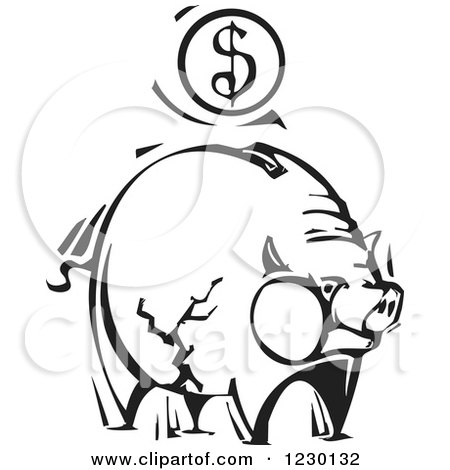 Clipart of a Black and White Woodcut Piggy Bank with a Dollar Coin - Royalty Free Vector Illustration by xunantunich