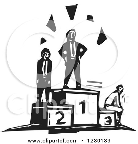 Clipart of Black and White Woodcut Businessmen on Contest Podiums - Royalty Free Vector Illustration by xunantunich