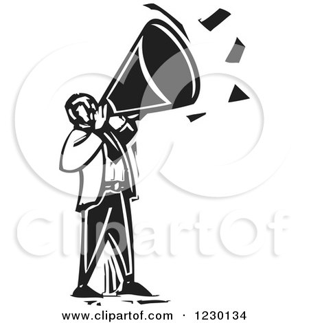 Clipart of a Black and White Woodcut Man Announcing with a Megaphone - Royalty Free Vector Illustration by xunantunich