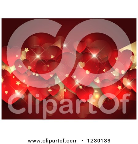 Clipart of a Red and Gold Sparkly Valentine Heart Background with Stars - Royalty Free Vector Illustration by KJ Pargeter