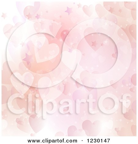 Clipart of a Pink Sparkly Valentine Star and Heart Background - Royalty Free Vector Illustration by KJ Pargeter