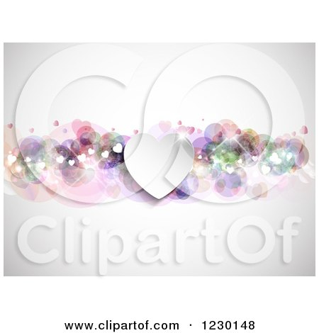 Clipart of a Sparkly Valentine Heart Background - Royalty Free Vector Illustration by KJ Pargeter