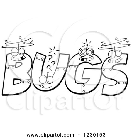 Clipart of Black and White Robot Letters Forming the Word BUGS - Royalty Free Vector Illustration by Cory Thoman