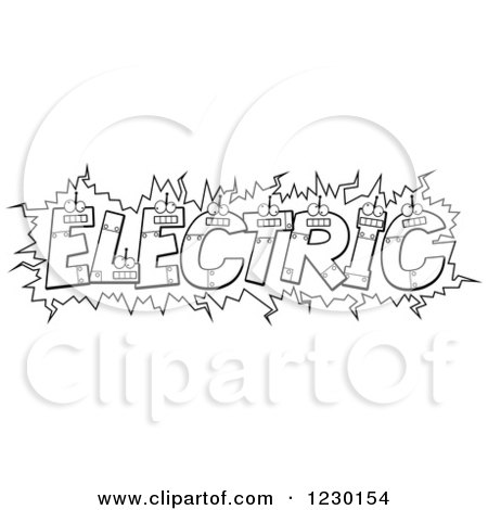 Clipart of Black and White Robot Letters Forming the Word ELECTRIC - Royalty Free Vector Illustration by Cory Thoman
