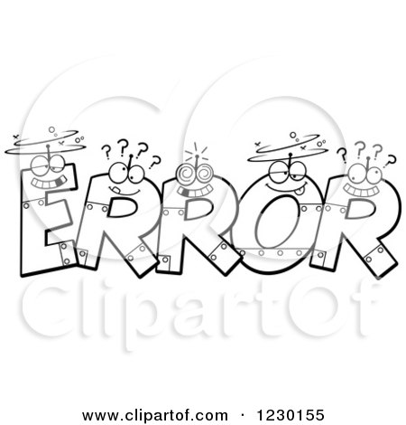 Clipart of Black and White Robot Letters Forming the Word ERROR - Royalty Free Vector Illustration by Cory Thoman