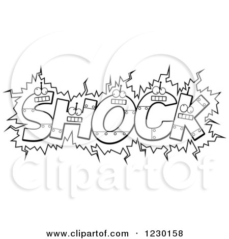 Clipart of Black and White Robot Letters Forming the Word SHOCK - Royalty Free Vector Illustration by Cory Thoman