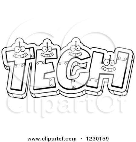 Clipart of Black and White Robot Letters Forming the Word TECH - Royalty Free Vector Illustration by Cory Thoman
