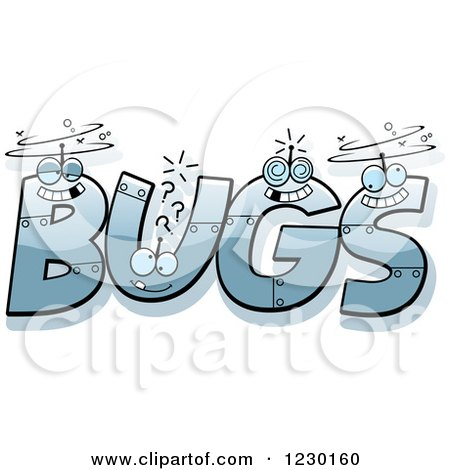 Clipart of Robot Letters Forming the Word BUGS - Royalty Free Vector Illustration by Cory Thoman