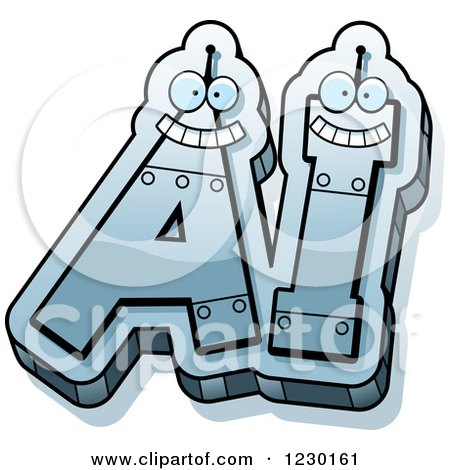 Clipart of Robot Letters Forming AI - Royalty Free Vector Illustration by Cory Thoman