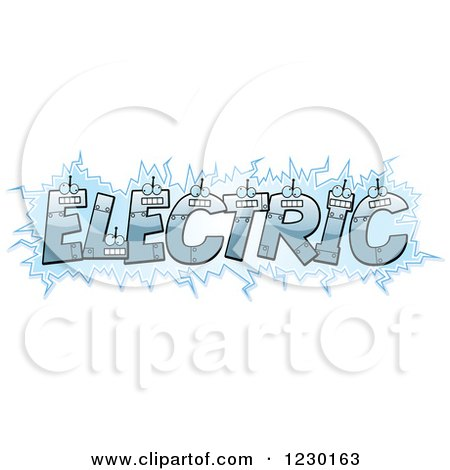 Clipart of Robot Letters Forming the Word ELECTRIC - Royalty Free Vector Illustration by Cory Thoman