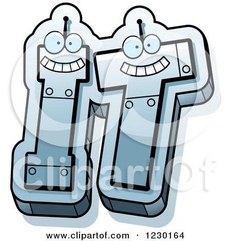 Clipart of Robot Letters Forming the Word IT - Royalty Free Vector Illustration by Cory Thoman
