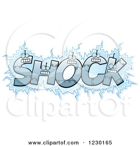 Clipart of Robot Letters Forming the Word SHOCK - Royalty Free Vector Illustration by Cory Thoman