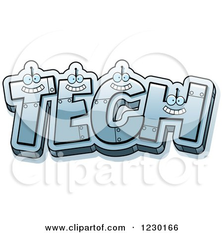 Clipart of Robot Letters Forming the Word TECH - Royalty Free Vector Illustration by Cory Thoman