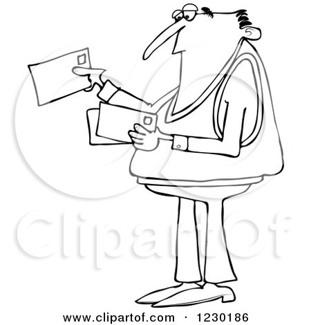 Clipart of a Black and White Man Looking at Letter Mail Envelopes - Royalty Free Vector Illustration by djart