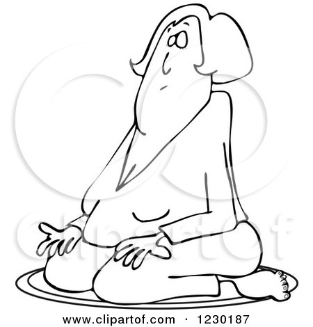 Clipart of a Black and White Woman Meditating in the Lotus Pose - Royalty Free Vector Illustration by djart