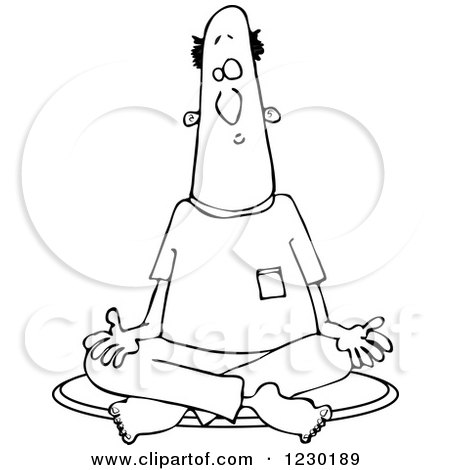 Clipart of a Black and White Man Meditating in the Lotus Pose - Royalty Free Vector Illustration by djart