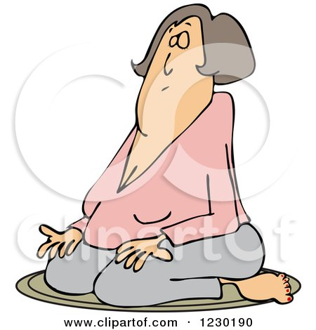 Clipart of a White Woman Meditating in the Lotus Pose - Royalty Free Vector Illustration by djart