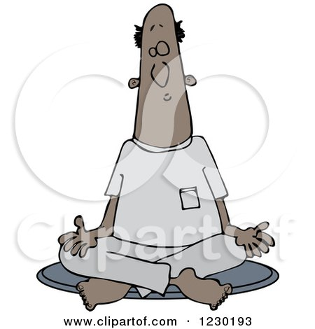 Clipart of a Black Man Meditating in the Lotus Pose - Royalty Free Vector Illustration by djart