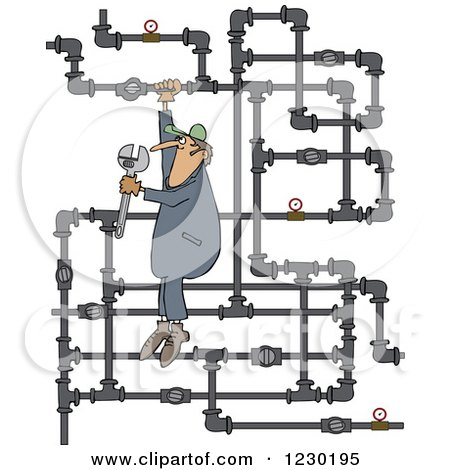 Clipart of a White Man Plumber Hanging from a Pipe Maze - Royalty Free Vector Illustration by djart