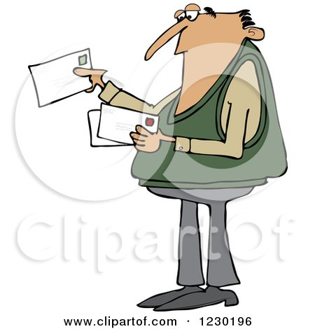Clipart of a White Man Looking at Letter Mail Envelopes - Royalty Free Vector Illustration by djart