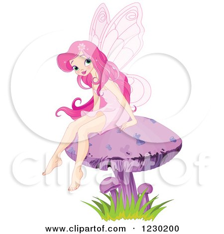 Clipart of a Happy Pink Haired Fairy Sitting on a Mushroom - Royalty Free Vector Illustration by Pushkin