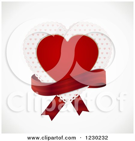Clipart of a Red Heart and Doily with a Ribbon on off White - Royalty Free Vector Illustration by elaineitalia